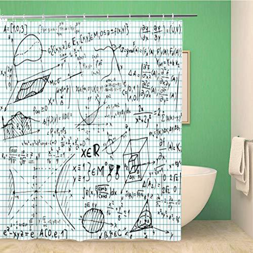 Awowee Decor Duschvorhang, Blauer Einstein, quadratisch, mathematische Gleichungen und Skizzen, 180 x 180 cm, Polyester, wasserfest, mit Haken für das Badezimmer