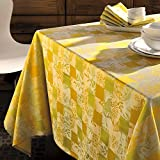 Garnier-Thiebaut Mille Birds Sunny COATED Jacquard Tablecloth,100% Coated Cotton, 69 Inch Round