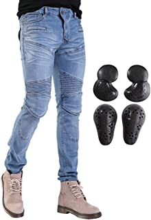 Men Women Motorcycle Riding Jeans with 4 x Upgrade CE Armor Knee Hip Pads Protective Pants for Motocross Off Road