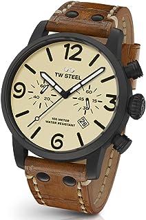 TW Steel Men's Maverick Stainless Steel Quartz Watch with Leather Calfskin Strap, Brown, 0.87 (Model: MS44)