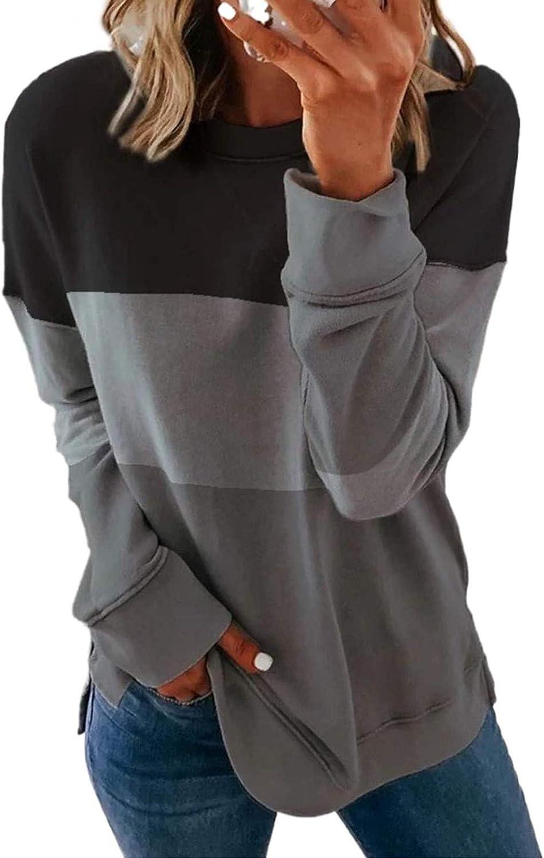 Women Long Sleeve Shirts,Womens Crewneck Pullover Plus Size Long Sleeves Fashine Stripe Print Autumn Sweatshirts