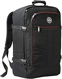 Cabin Max️ Metz Backpack for Men and Women Flight Approved Carry On Luggage Bag Massive 44 Litre Travel Hand Luggage 22x14x9 - Perfectly Sized for Southwest Airlines and Many More! (Black Red)