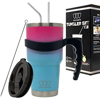Gold Armour 30 oz Tumbler - 6 Piece Stainless Steel Insulated Water & Coffee Cup Tumbler with 2 Straws, 1 Lid, 1 Handle - 18/8 Double Vacuum Insulated Flask Water Bottle (Ombre: Pink and Sky Blue)