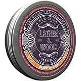 Lather & Wood Shaving Soap - Bay Rum - Simply The Best Luxury Shaving Cream - Tallow - Dense Lather with Fantastic Scent for The Worlds Best Wet Shaving Routine. 4.6 oz (Bay Rum)