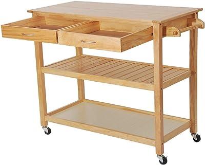 Zwan 36 Wooden Rolling Kitchen Trolley Island Storage W/Drawers Burlywood with ebook