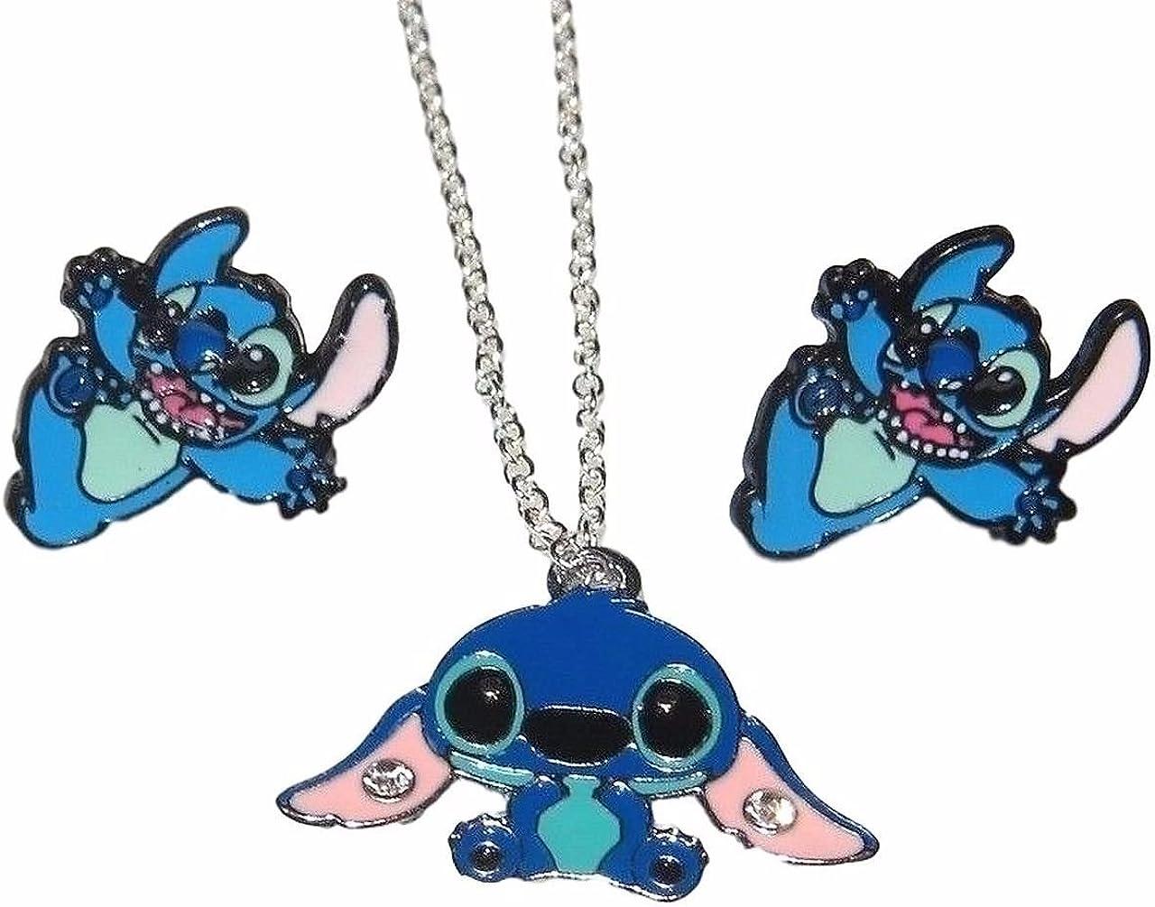 New Horizons Production Disney's Lilo & Stitch Stitch Metal Stud Earrings & Necklace