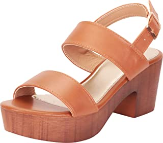 Women's Retro 70s Clog Chunky Platform Block Heel Sandal
