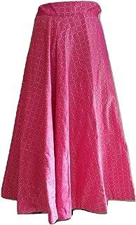 SNEH Women's Silk Gold Print Checkered Skirt (Pink,Free Size)
