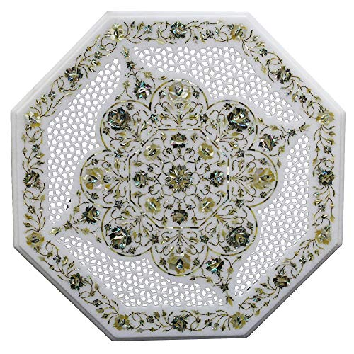 """Queenza 24"""" Octagonal Unique Lattice White Marble Rustic Vintage Coffee Table Studded with Semiprecious Gemstone as Floral Art Design 