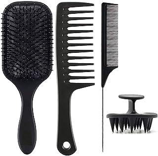 NEEMAY Air Cushion Massage Comb,Anti Static Detangle Brush+Shampoo Brush Scalp Massager+Wide Tooth Comb+Tail Comb 4Pcs Hai...