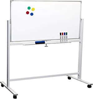 """Large 48""""x32"""" White Board on Wheels: 1 Reversible Magnetic Dry Erase Board with Rolling Stand, 4 Dry Erase Markers, 1 Eras..."""