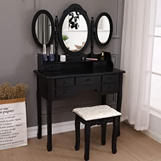 YOLENY Vanity Set Tri Folding Dressing Table,7 Drawers,Oval Mirror Wood Bathroom Makeup Table Set with Cushioned Stool,Black