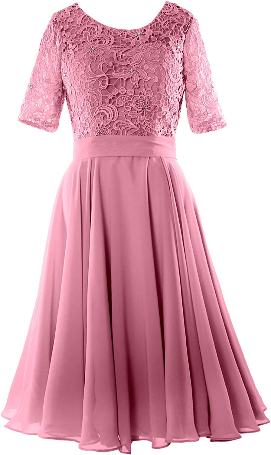44d17dab3ff6 MACloth Women Lace Wedding Formal Gown Half Sleeve Short Mother of Bride  Dress