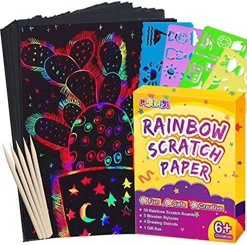 Pigipigi Scratch Paper Art for Kids 59 Pcs Magic Rainbow Scratch Paper Off Set Scratch Crafts product image