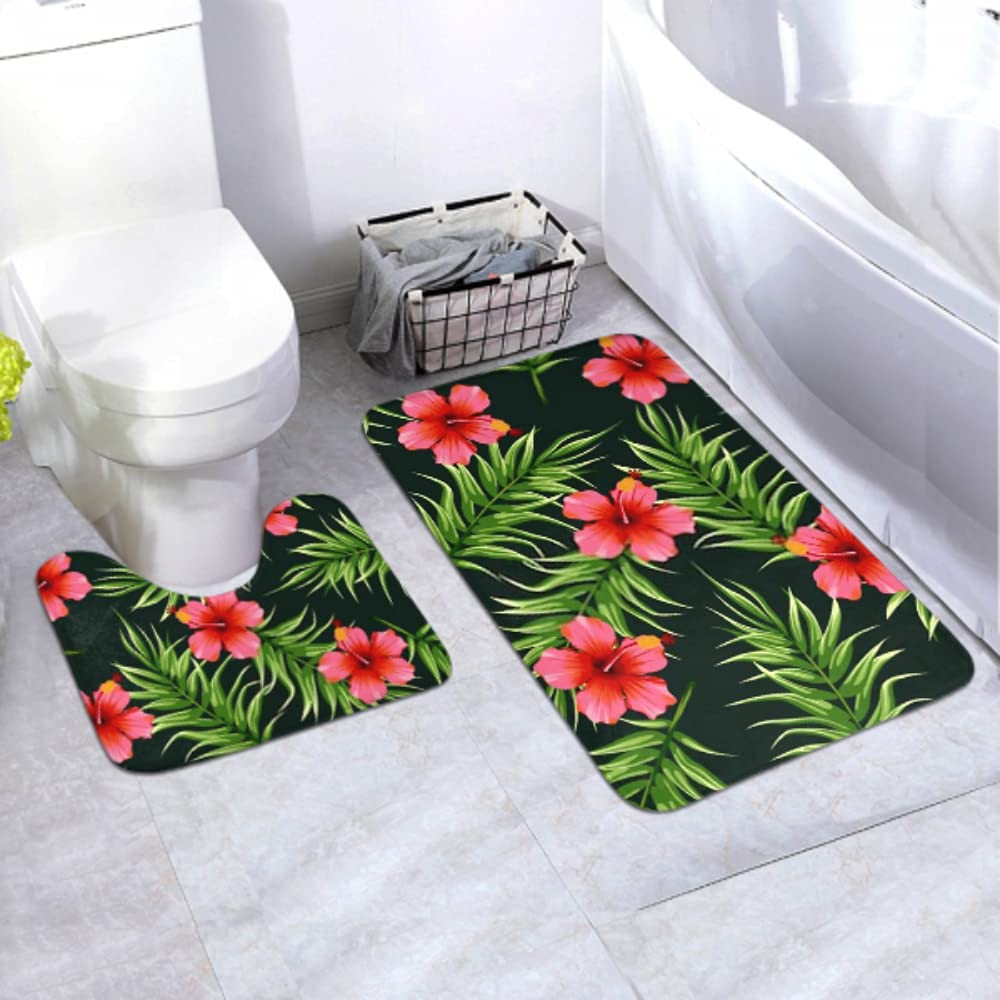 2021 spring and summer new Year-end annual account Bath Mat Set Bright Tropical Seamless 2 Pi Plants Pattern Jungle