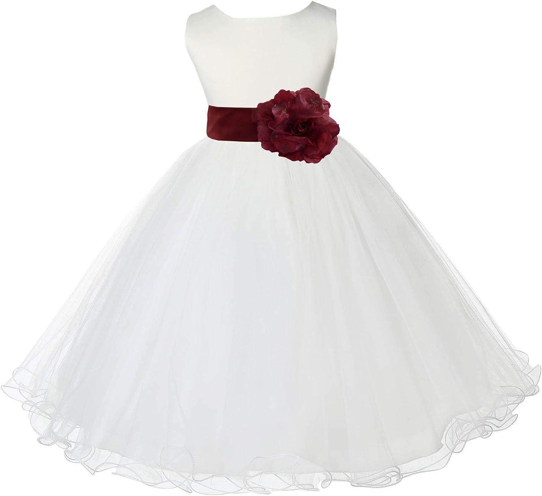 Wedding Pageant Ivory Flower Girl Rattail Edge Tulle Flower Girl Dress 829s