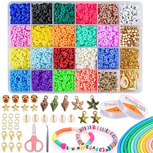 Abalorios Para Hacer Pulseras, 24 Colores Bolas para Pulseras, Fabricación de Joyas Regalo de San Valentín Para Niños Mujeres Adultas Mujer Pulsera Juego de Manualidades