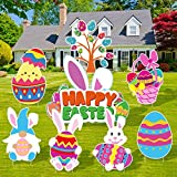 ADXCO 8 Pieces Easter Yard Sign Easter Outdoor Lawn Decorations with Stakes Easter Rabbit Eggs Yard Sign for Easter Party Yard Decor