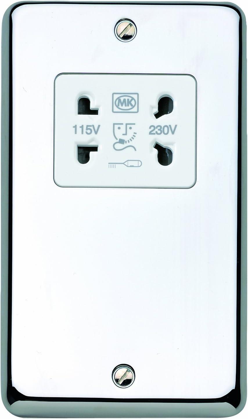 Shaver Socket Dual Voltage Cast Laiton avec bords plaque faire MK K704PPK