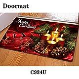 Bigcardesigns Merry Christmas Printed Anti-Slip Bathroom Kitchen Floor Retro Design Mats