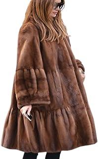 Womens Winter Luxury Outerwear Long Sleeve Faux Mink Faux...