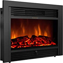 """Giantex 28.5"""" Electric Fireplace Insert Recessed Mounted with Remote Control, 750/1500W Wall Recessed Heater, Adjustable Flame Color Standing Fireplace, Black"""
