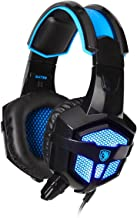Gaming Headphones,Sades SA-738 3.5mm USB Plug Lightweight Over Ear PC Headset with Microphone PU Ear-pad for Gamers Laptop PC MAC Laptop Retail-Box Packaging by AFUNTA-Black/Blue