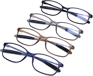 AQWANO Computer Reading Glasses Blue Light Blocking UV Protection Lightweight Flexible TR90 Unbreakable Readers for Women Men +1.75
