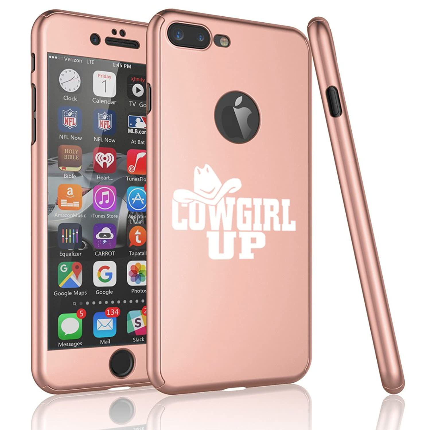 For Apple iPhone 360° Full Body Thin Slim Hard Case Cover + Tempered Glass Screen Protector Cowgirl Up With Hat (Rose Gold For iPhone 8)