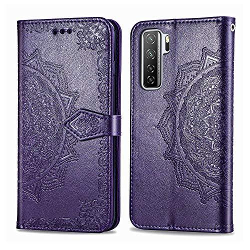 Bear Village Hülle für Huawei P40 Lite 5G / Nova 7 SE, PU Lederhülle Handyhülle für Huawei P40 Lite 5G / Nova 7 SE, Brieftasche Kratzfestes Magnet Handytasche mit Kartenfach, Violett