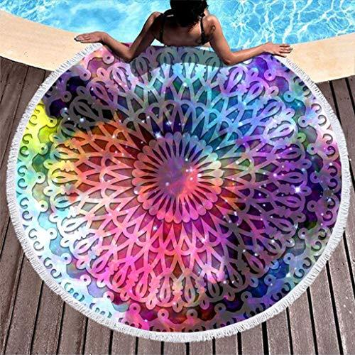 COMBON Shop Toalla de playa redonda mágica a prueba de arena, elegante manta de playa, para pícnic, color blanco 59 pulgadas