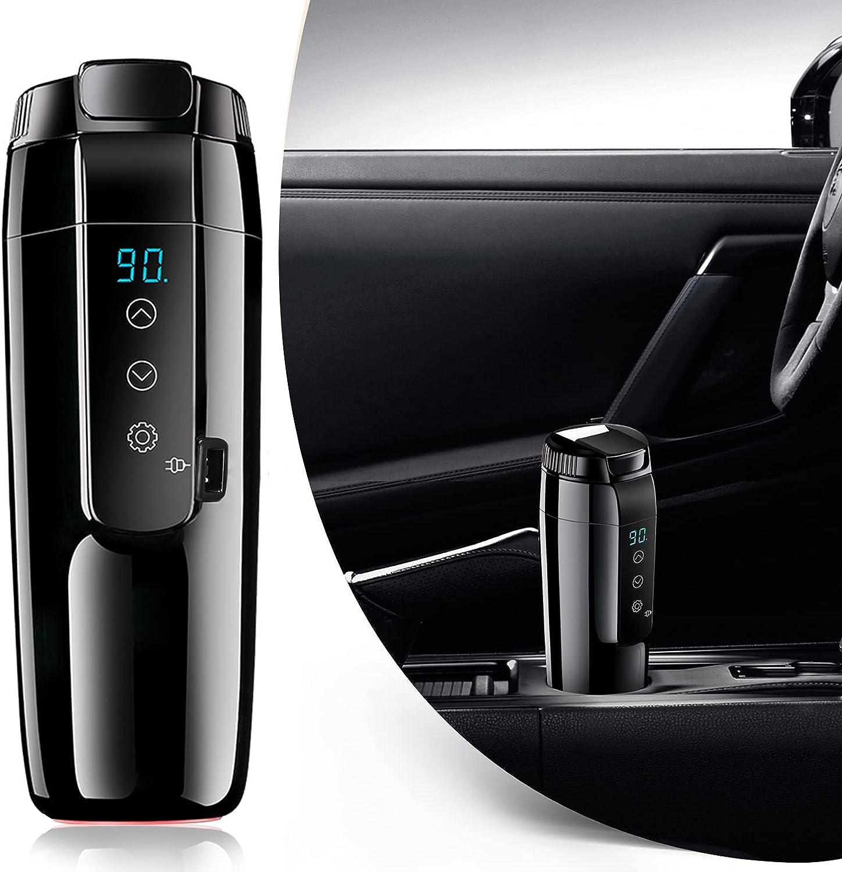 12V Hervidor eléctrico de viaje,Kacsoo 70W 350ml Acero Inoxidable Taza de calefacción de coche 20 ℃ ~ 90 ℃ con control de temperatura variable Taza calefactora de viaje,Para Acampar