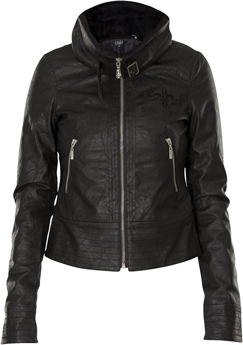 Sinful by Affliction Distortion Long Sleeve PU Leather Fashion Moto Jacket For Women