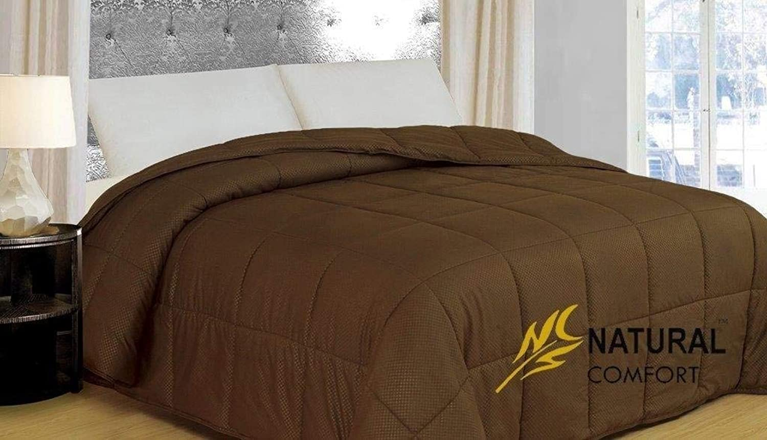 Natural Comfort Light Weight Filled Down Alternative Comforter with Embossed Microfiber Shell, Twin, Chocolate Brown