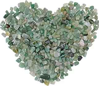 Bofanio Green Aventurine Chips Stone Crushed Crystal Quartz Pieces Irregular Shaped Tumbled Stones Raw Gems Beads Filler Colored Decorative Rocks for Vases Plants Crafts (About 1.1 lb(500g)/Bag)