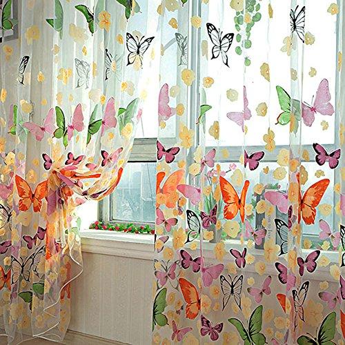 ROPALIA Door Window Balcony Butterfly Print Tulle Voile Sheer Curtain Panel