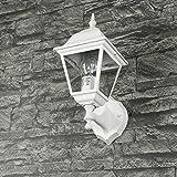 Außenwandleuchte TIROL matt-weiß grau aus Aluspritzguss IP44 Wandlampe Gartenlaterne für Hof Weg Fassade