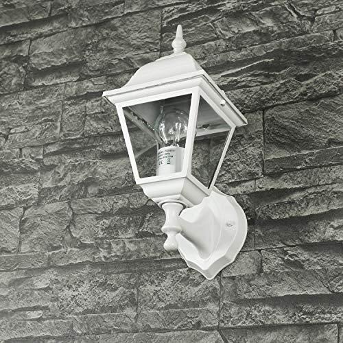 *Aluguss Gartenlaterne matt-weiß grau Wand- Außenleuchte Außenlampe*