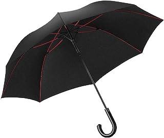 強風豪雨対策 Lilystar 長傘 超大140cm メンズ 大きい傘 特大 丈夫 撥水 耐風 軽量 傘 大型 紳士傘 Teflon加工 新強化グラスファイバー傘骨 自動開け 梅雨対策 台風対策 男女兼用 (Black-Red)