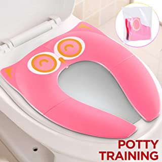Gimars Non Slip No Falling Folding Travel Portable Potty Training Seat Fits Most Toilets, 6 Large Non-Slip Silicone Pad, Home Reusable with Carry Bag for Toddlers Kids Boy Girl, Pink