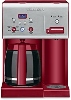 Cuisinart CHW-12R 12-Cup Programmable Coffeemaker Plus Hot Water System Coffee Maker, Brushed Metal/Red