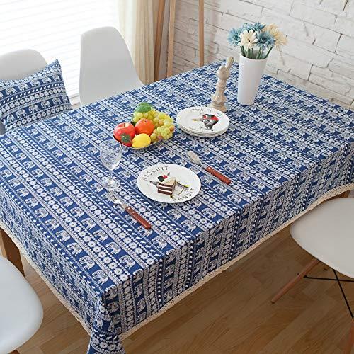 ZYT Waschbar, schmutzabweisend, pflegeleicht, hochwertig,Bohemia Blue Elephant Baumwolle leinen tischdecke tischdecke/Cafe blau 140 * 160cm