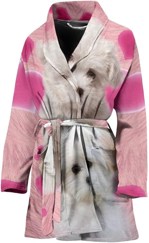 Deruj Maltese On Pink Print Women's Bath Robe