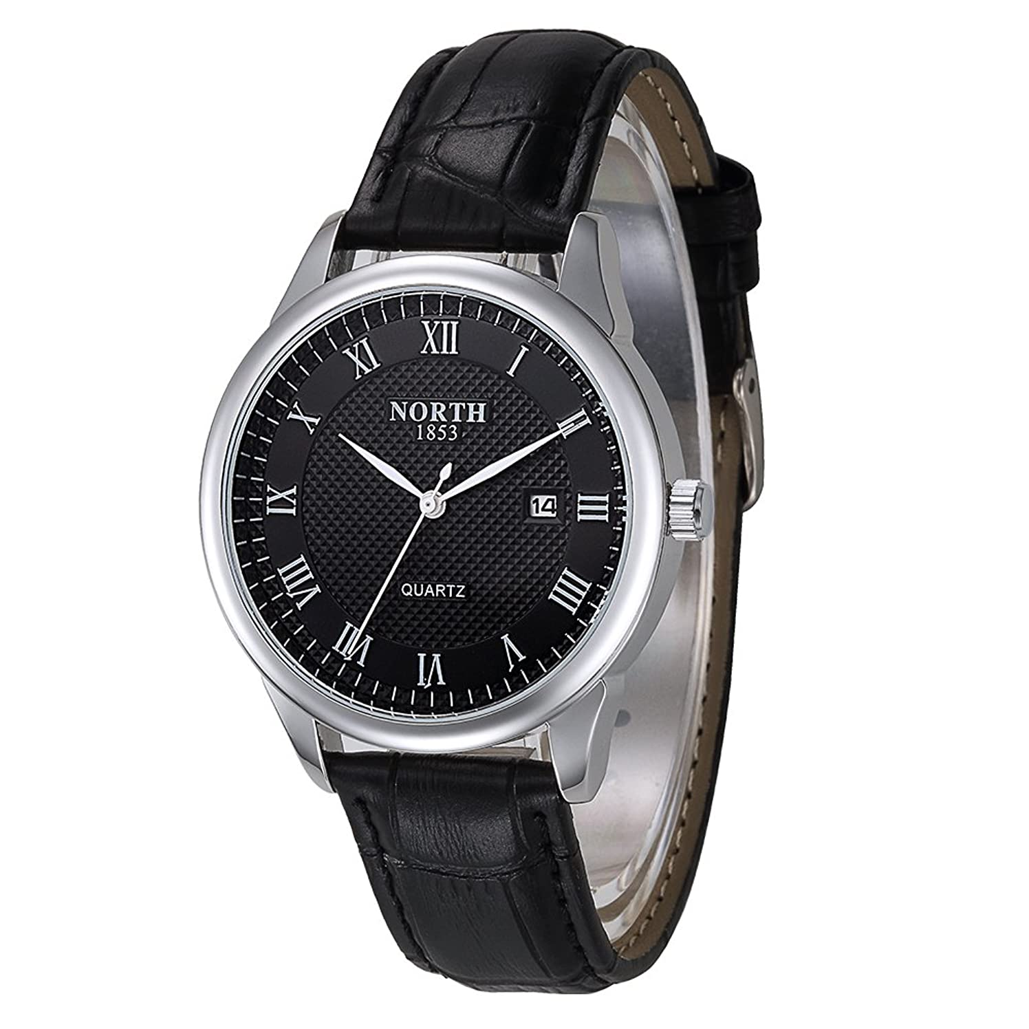 Men Watch,Business Fashion Waterproof Watches for Men,Black Leather Quartz Wrist Watch