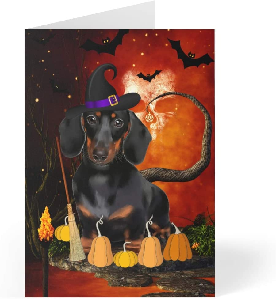 Dachshund Dog Halloween Greeting Cards - 5 of 7 Set x 10 Max Albuquerque Mall 58% OFF inches