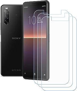 TTJ 3 stycken skottsäkert glas skyddsfolie för Sony Xperia 10 II, 9H hårdhet härdat glas pansarglasfilm anti-rep/anti-fing...