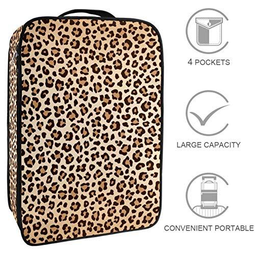 TIZORAX - Caja organizadora de zapatos con textura de leopardo, color marrón y beige