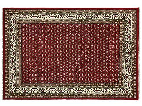 Indo Sarough Mir Beige Rot Orient Teppich Handgeknüpft 100% Schurwolle Herati Rot 240x165 cm