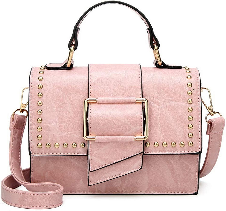 AmoonyFashion Women's Studded PU Shoulder Bags Casual Crossbody Bags,BUTBT181600