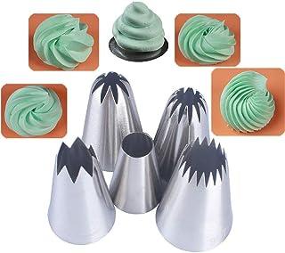 BLUGUL 5 Pièces Grand Douilles Pâtisserie, Embouts de Glaçage pour Poche à Douille, Pour Pâtisserie et Décoration de Cupcakes